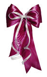 Dark red bow with silver ribbon made from silk Royalty Free Stock Image