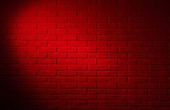 Dark red brick wall with light effect and shadow, abstract backg Royalty Free Stock Photography