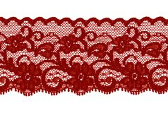 Dark red or brown lace band. Suitable for stockings, robes, skirts Stock Images