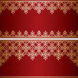 Dark red card with gold vintage ornament vector Royalty Free Stock Image