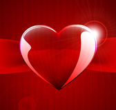 Dark red card with vector glass heart Royalty Free Stock Photo