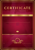 Dark red Certificate, Diploma template. Dark red Certificate, Diploma of completion (design template, background) with floral pattern, gold border (frame) Stock Image