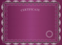 Dark red certificate Stock Image