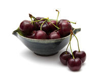 Dark red cherry isolated Stock Photography
