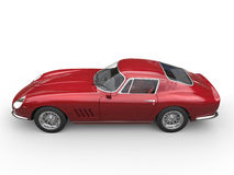 Dark red classic sports car - top side view Royalty Free Stock Photo