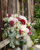 Dark red, cream and green bridal bouquet resting on an old wooden fence Stock Photo