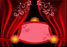 Dark red curtains illustration Stock Image
