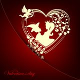 Dark red design with silhouettes of the heart, boys and girls, princesses. And cupids Royalty Free Stock Photos
