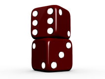Dark Red Dices. On white isolated background Stock Photography