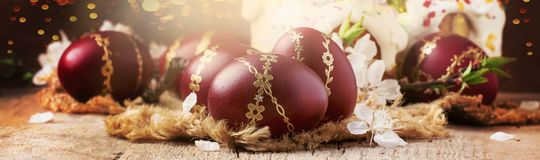 Dark red Easter eggs with gold pattern, apricot flowers,  rustic wooden background, easter banner, selective focus. Dark red Easter eggs with gold pattern stock image