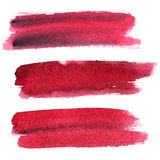 Dark red expressive brush strokes. Set of dark red expressive brush strokes isolated on the white background. Elements for your design Royalty Free Stock Photography