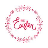 Dark red flower card with sweet Happy easter sign in red color with floral frame. Flower red border. Easter day wishes. stock illustration