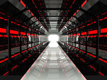 Dark red futuristic corridor Royalty Free Stock Images
