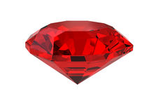 Dark-red gemstone isolated on white Stock Photo