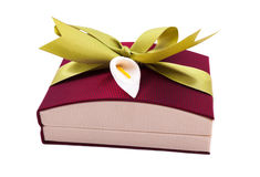 Dark red gift box with a green bow on white background Stock Photos