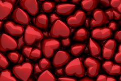 Dark red glossy hearts as background Royalty Free Stock Image