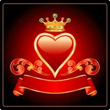 Dark red gold heart Royalty Free Stock Photos