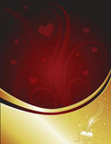 Dark Red Gold Heart Stock Photography