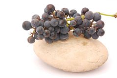 Dark red grapes on stone Stock Image