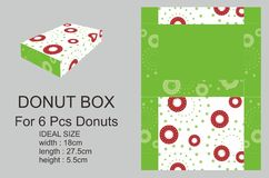 Dark Red and Green Donuts Box Royalty Free Stock Photography