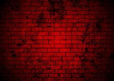 Dark red grunge brick wall background. Vector design Stock Photo