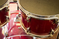 Dark red grunge drum set Stock Photo
