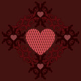 Dark red hearts ornament Royalty Free Stock Photography