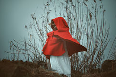 Dark red hooded woman Stock Images