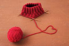 Background with red knitting Royalty Free Stock Photo