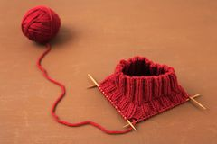 Background with red knitting Royalty Free Stock Photos