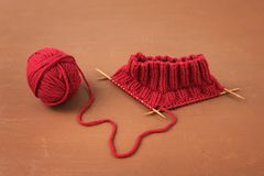 Background with red knitting Stock Photo