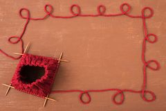 Background with red knitting Royalty Free Stock Photography
