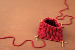 Background with red knitting Royalty Free Stock Images