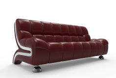 Dark Red Leather Sofa Stock Photography