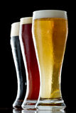 Dark, red and light beer Royalty Free Stock Photos