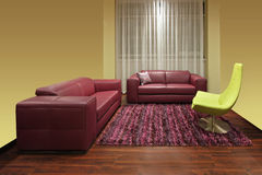 Dark red living room Royalty Free Stock Photography