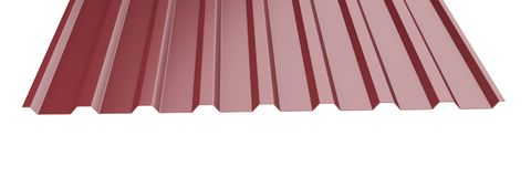 Dark red metal corrugated roof sheet stack - front view. Stock Image