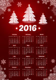 Dark red 2016 New Year calendar with white paper. Dark red 2016 New Year vector calendar with white paper Christmas trees and snowflakes Stock Photography