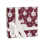 Dark red paper gift box white baubles balls decor isolated Royalty Free Stock Photos