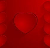Dark red postcard with hearts Stock Photo