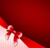 Dark red postcard with ribbon Stock Photos