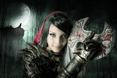 Dark Red Riding hood Royalty Free Stock Photos