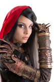 Dark Red Riding hood. Girl in a dark Red riding hood costume isolated in white Stock Image