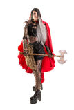 Dark Red Riding hood. Girl in a dark Red riding hood costume isolated in white Royalty Free Stock Images