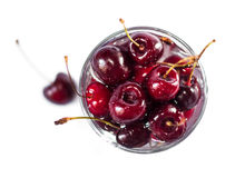 Dark red ripe cherries Stock Photo