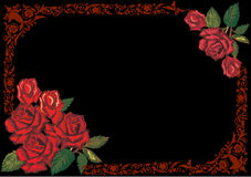Dark red rose frame on black Stock Photo
