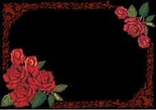 Dark red rose frame on black. Illustration with dark red rose frame decoration on black background Stock Photo
