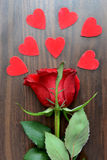 Dark Red Rose and Hearts Royalty Free Stock Photography