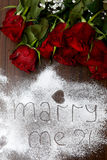 """Dark Red Roses and """"Marry Me Stock Photography"""