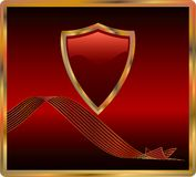 Dark red shield. Vector red shield with banner Stock Images